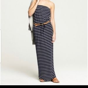 J CREW Black/White Amie Striped Jersey Maxi Dress